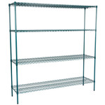 "Regency Regency 18"" x 72"" NSF Green Epoxy 4-Shelf Kit with 74"" Posts"