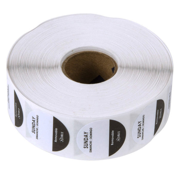 """Noble Products Noble Products Sunday 1"""" Removable Day of the Week Label-1000/Roll"""