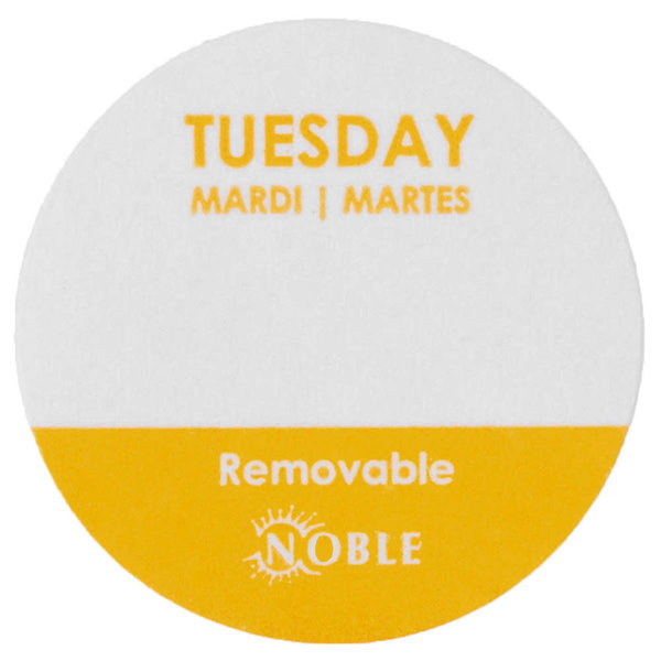 "Noble Products Noble Products Tuesday  1"" Removable Day of the Week Label-1000/Roll"