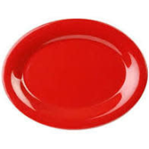 "Thunder Group Thunder Group CR213PR Melamine Platter, Red, 13.5"" x 10.5"", Oval - EACH"