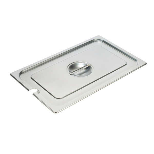 Winco Winco SPCH Steam Table Pan Cover, 1/2 size, slotted, with handle, 18/8 stainless steel