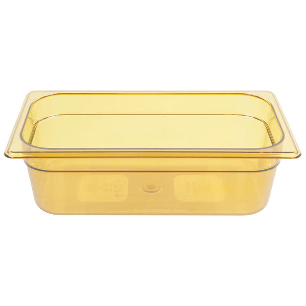 "Rubbermaid Rubbermaid FG217P00AMBR 1/3 Size Amber High Heat Food Pan - 4"" Deep"