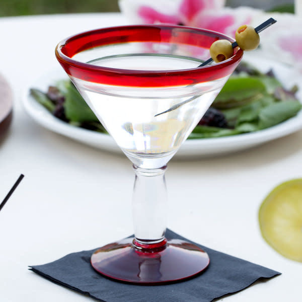 Libbey Libbey 92305R Aruba Martini Glass with Red Rim and Base, 10 oz. - 1 Dozen