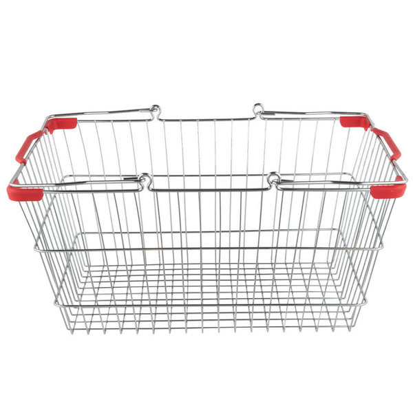 "Omcan Regency 96213022 Grocery Basket Chrome With Red Handles 18"" x 13"" x 8"""