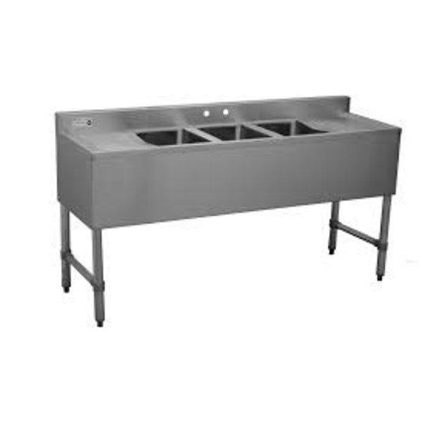 Serv-Ware Serv-Ware BAR3B60-LR-CWP Under-Bar Sink, 3 Compartment, 60''W x 18-3/4''D x 33''H