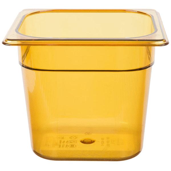 "Homer Laughlin Rubbermaid FG206P00AMBR 1/6 Size Amber High Heat Food Pan - 6"" Deep"