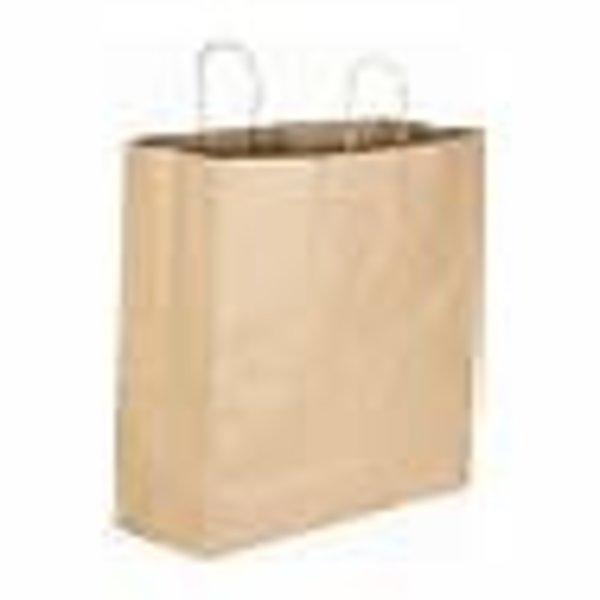 "Jumbo 18"" x 7"" x 18 1/2"" Natural Kraft Shopping Bag with Handles - 200/Bundle"