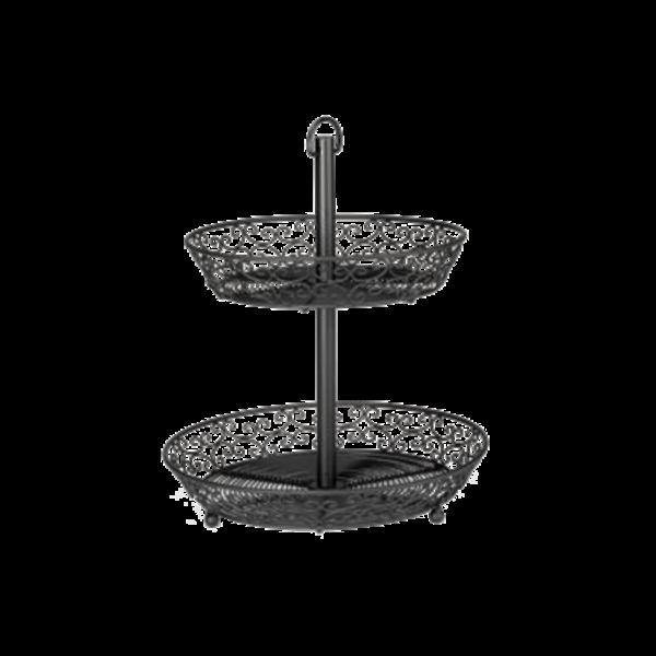 TableCraft TableCraft BKT2A Mediterranean Two Tier Display Basket, Black