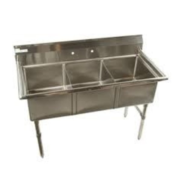 "Klinger's Trading Klinger's Trading ECS3 Economy Sink, Three Compartment, 53"" W X 23-1/2"" D X 41"" H"