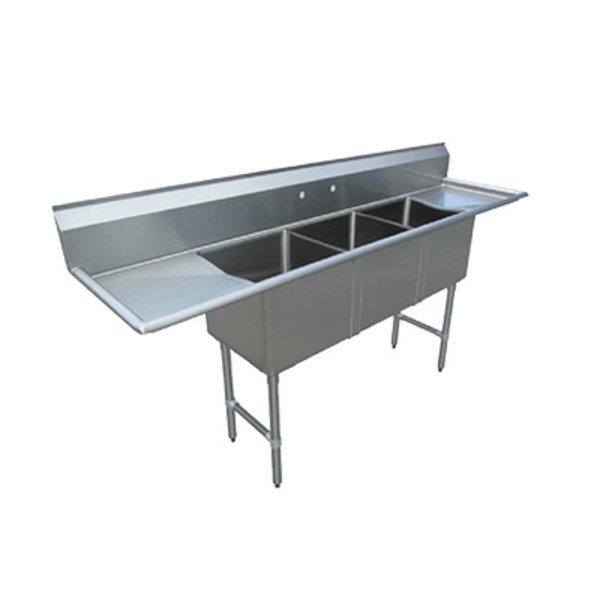 "Klinger's Trading Klingers Trading MCS32D Sink Three Compartment 75""W x 20-1/2""D x 43-3/4"""