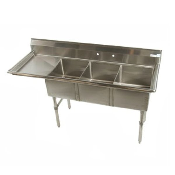 "Klinger's Trading Klingers Trading MCS3DL Sink Three Compartment 62-1/2""W x 20-1/2""D x 41""H"