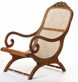Antique - Lawrence Collection Ceylon teak ebonized wood cane chair