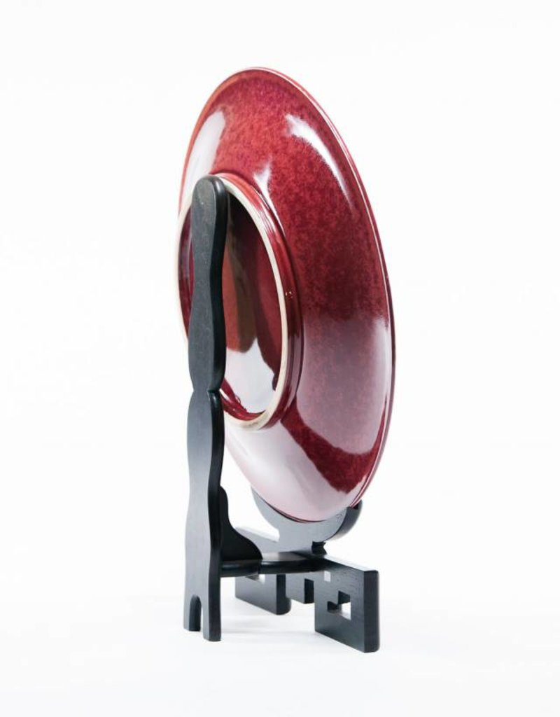 Lawrence & Scott Haruko - Large Porcelain Charger on Rosewood Stand (Oxblood))