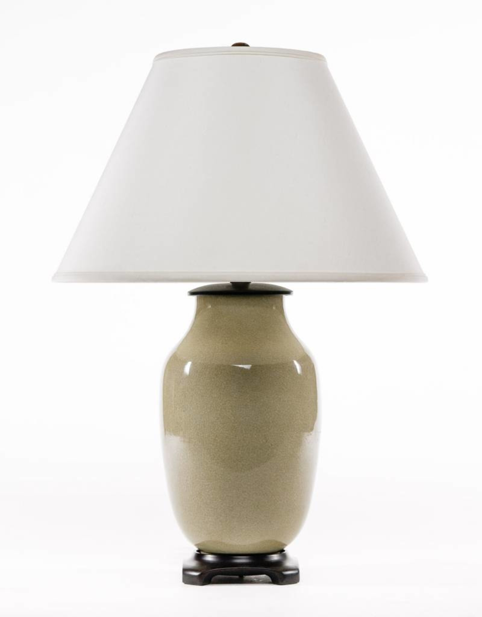 Lawrence & Scott Legacy Lagom Lantern Lamp in Cream Crackle with Rosewood Base