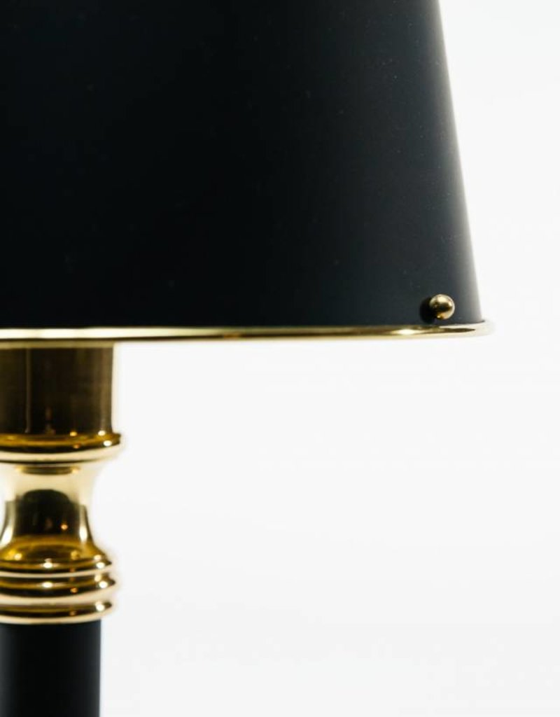 Lawrence & Scott Brass and Black Desk Lamp with Rolled Brass Black Shade