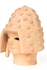 Antique - Lawrence Collection Haniwa Warrior Head in Helmet- Light