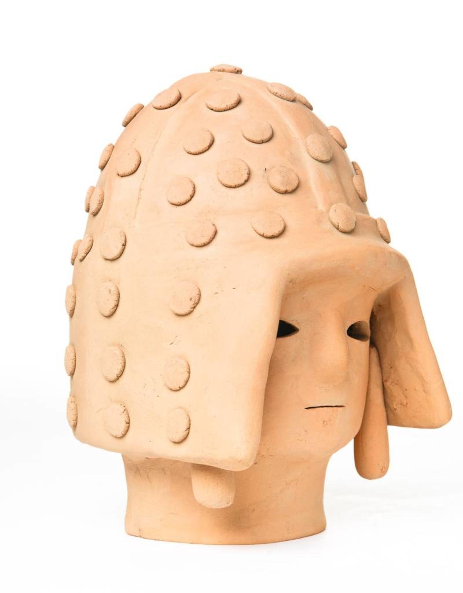 Antique - Lawrence Collection Haniwa Warrior Head in Helmet- Light