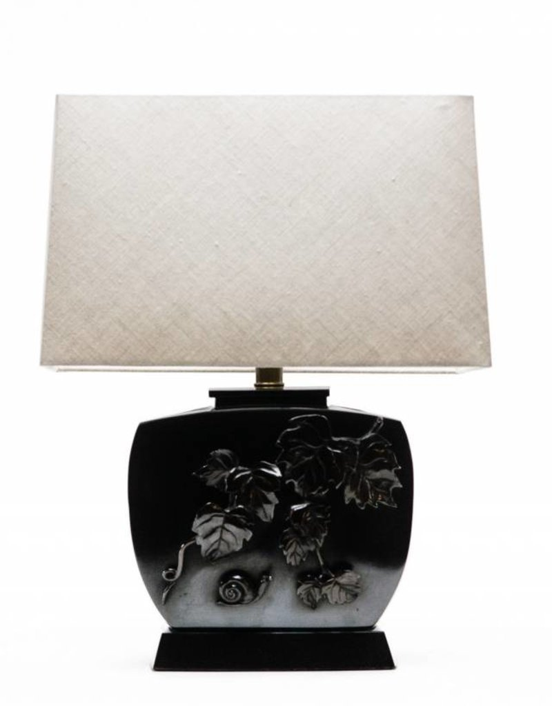 Lawrence & Scott Galen Brass Meditation Lamp with Fall Leaves Applique