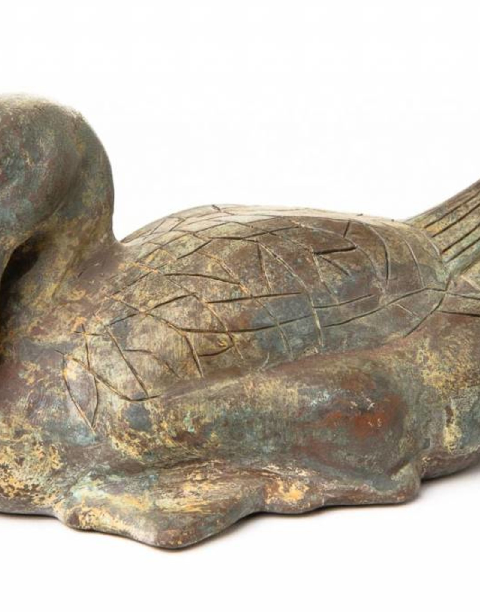 Lawrence & Scott Patinated Verdigris Bronze Duck with Hongmu Wood Stand