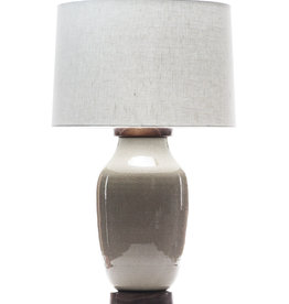 Lawrence & Scott Lagom Porcelain Lamp in Oyster Gray Crackle with Walnut Base
