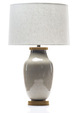 Lawrence & Scott Lagom Porcelain Lamp in Oyster Gray Crackle with White Oak Base