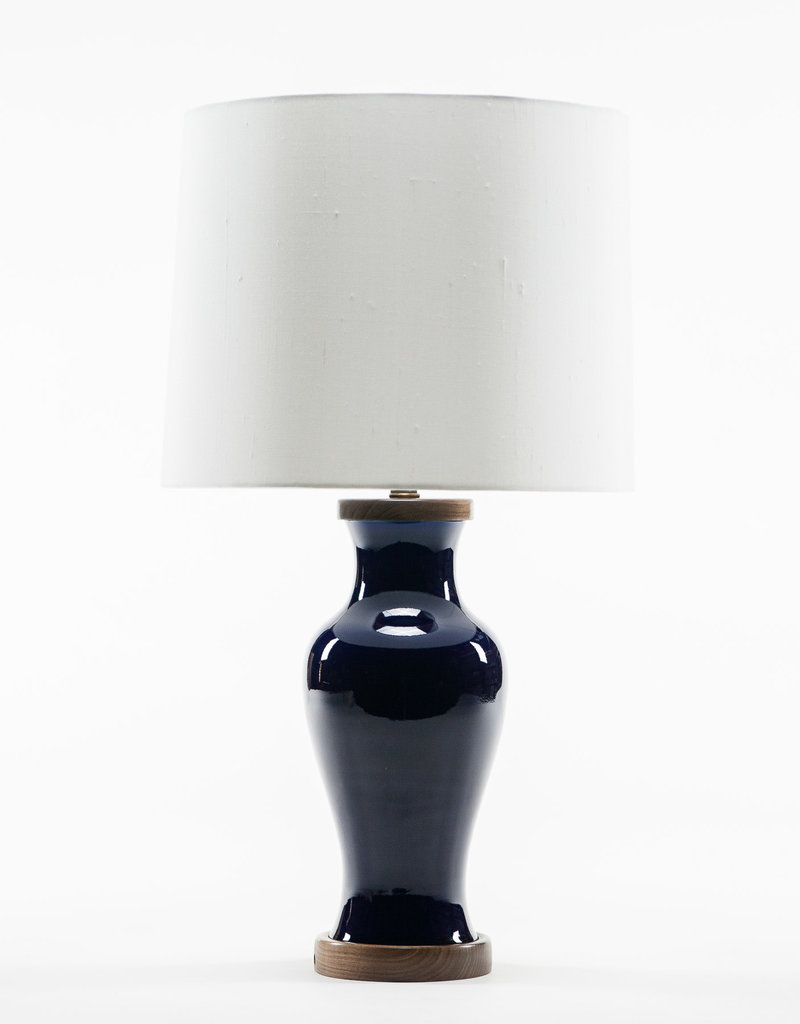 Lawrence & Scott Gabrielle Baluster Porcelain Lamp in Cobalt with Rosewood Base