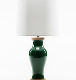 Lawrence & Scott Gabrielle Baluster Porcelain Lamp in Racing Green with Walnut Base