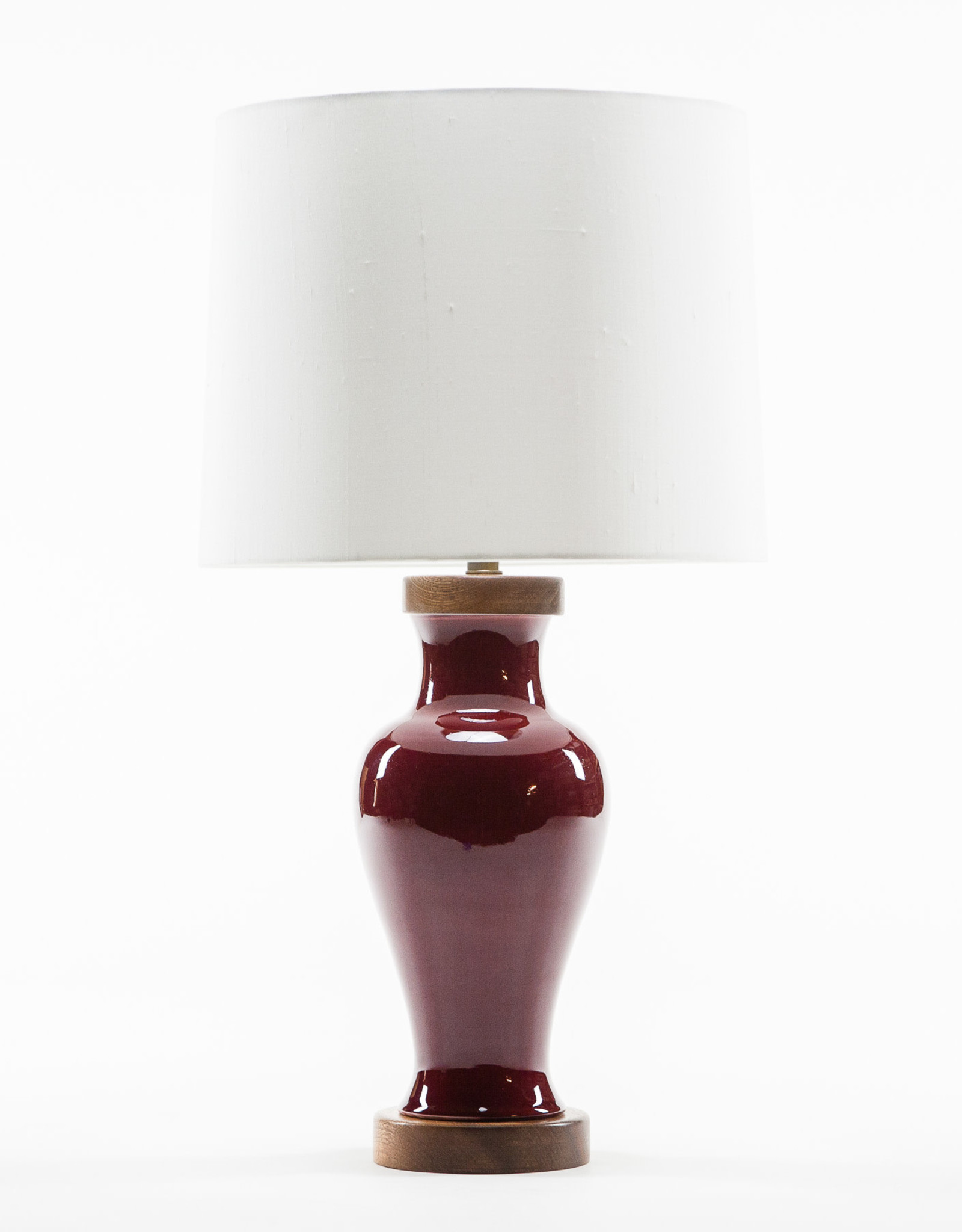 Lawrence & Scott Gabrielle Baluster Porcelain Lamp in Pinot Red