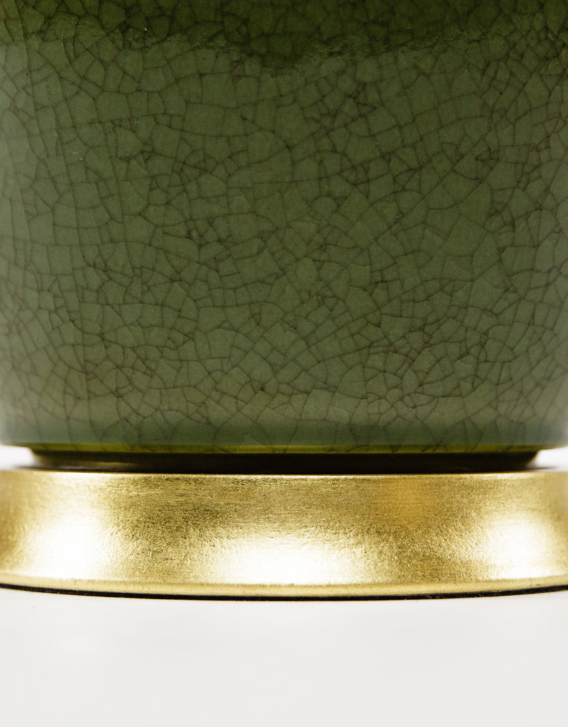 Lawrence & Scott Scarlett Porcelain Table Lamp in Celadon Crackle with Gilded Gold Base