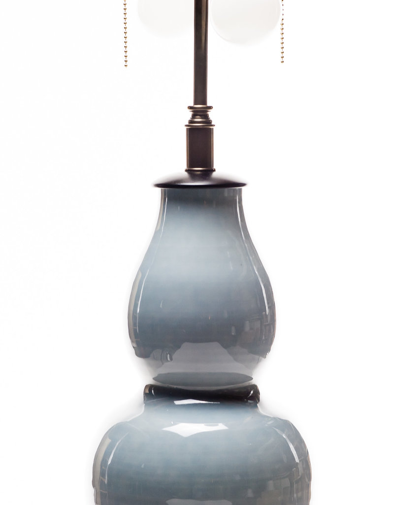 Lawrence & Scott Scarlett Porcelain Table Lamp in Gray with Rosewood Base