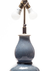 Lawrence & Scott Legacy Scarlett Porcelain Table Lamp in Sky Blue Crackle with Silver Base