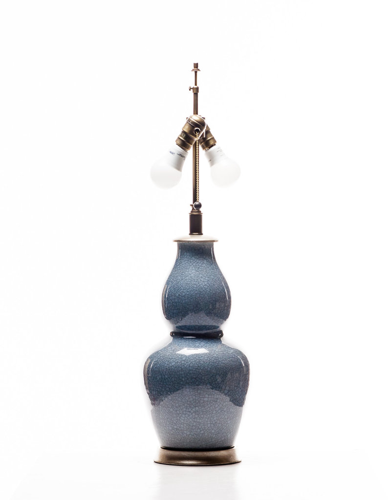 Lawrence & Scott Scarlett Porcelain Table Lamp in Sky Blue Crackle with Silver Base
