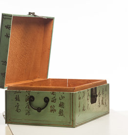 "Lawrence & Scott Pine Green Leather Inscription Box with Full Hardware (16.5"")"