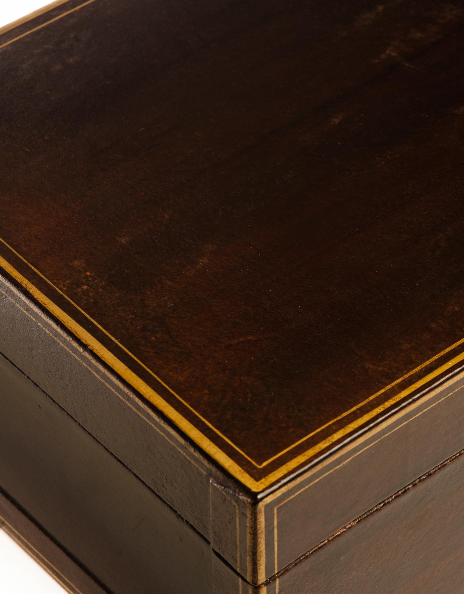 """Lawrence & Scott Mahogany Regalia Leather Box (16.5"""")"""