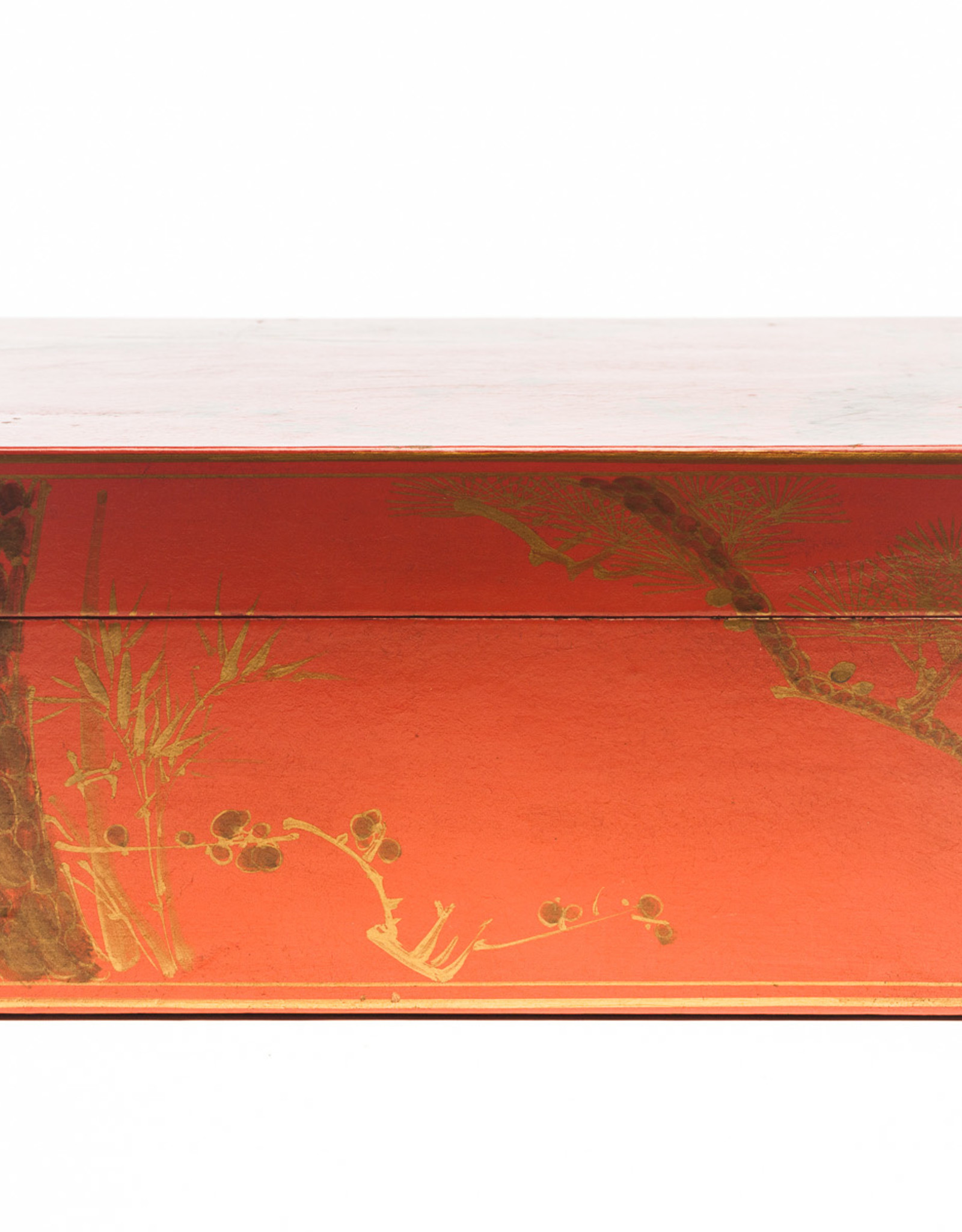 "Lawrence & Scott Mandarin Red Meridian Leather Box (16.5"")"