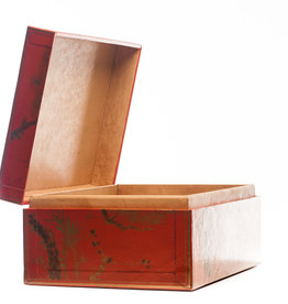 "Lawrence & Scott Mandarin Red Meridian Leather Box (16.5"")"