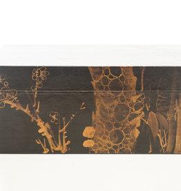 "Lawrence & Scott Black Meridian Leather Box (16.5"")"