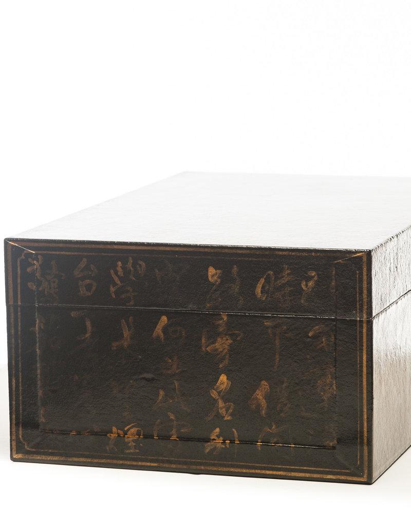 "Lawrence & Scott Black Inscription Leather Box (16"")"