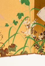Lawrence & Scott SCREEN:''IVY&FANS'' on gold foil 18'' x 46'' x 2 panels
