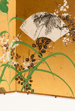 Lawrence & Scott SCREEN:''IVY&FANS'' on gold foil 18'' x 46'' x 2 panels
