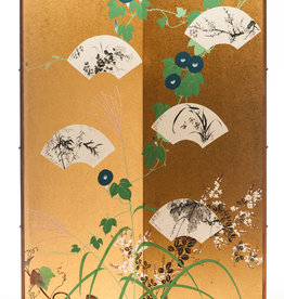 "Lawrence & Scott Japanese ""Ivy & Fans"" Two-Panel Silk Gold Foil Hanging Screen"
