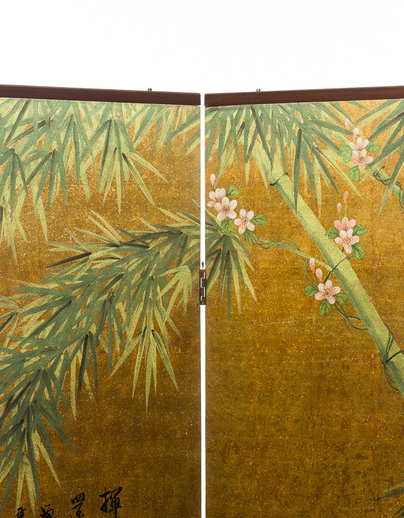 "Lawrence & Scott Chinese Inspired ""Bamboo Scene With Poem"" Hand-Painted Gold Foil 2-Panel Screen 48"" W x 50"" H"