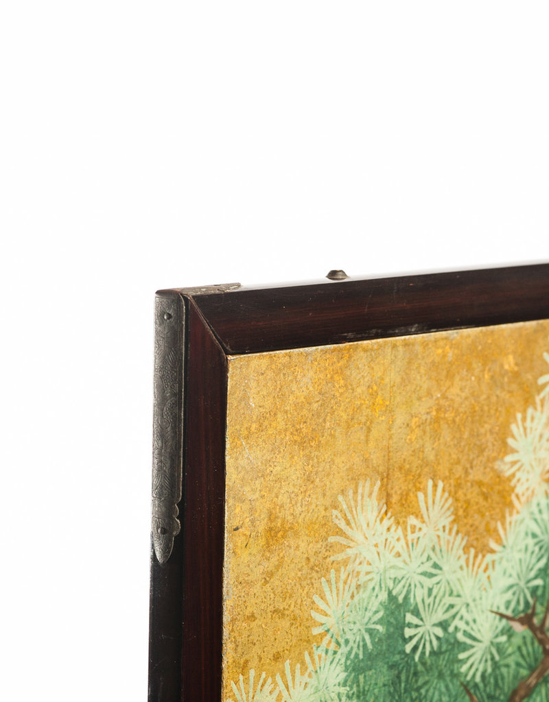 """Lawrence & Scott Japanese Style 2-Panel """"Cranes at Rest"""" Hand-Painted Gold Foil Screen 24'' X 50'' X 2 panels"""