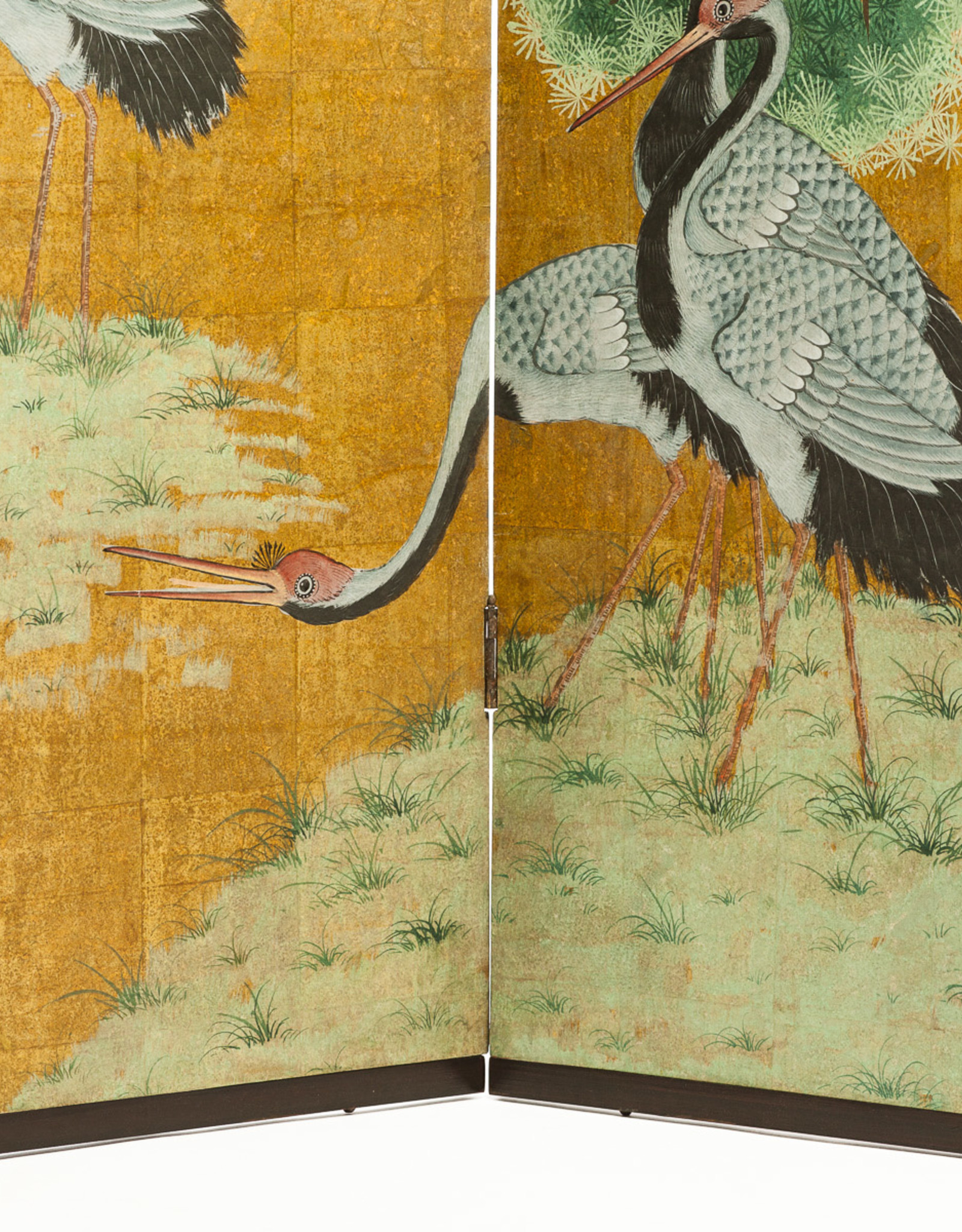 "Lawrence & Scott Japanese Style 2-Panel ""Cranes at Rest"" Hand-Painted Gold Foil Screen 24'' X 50'' X 2 panels"
