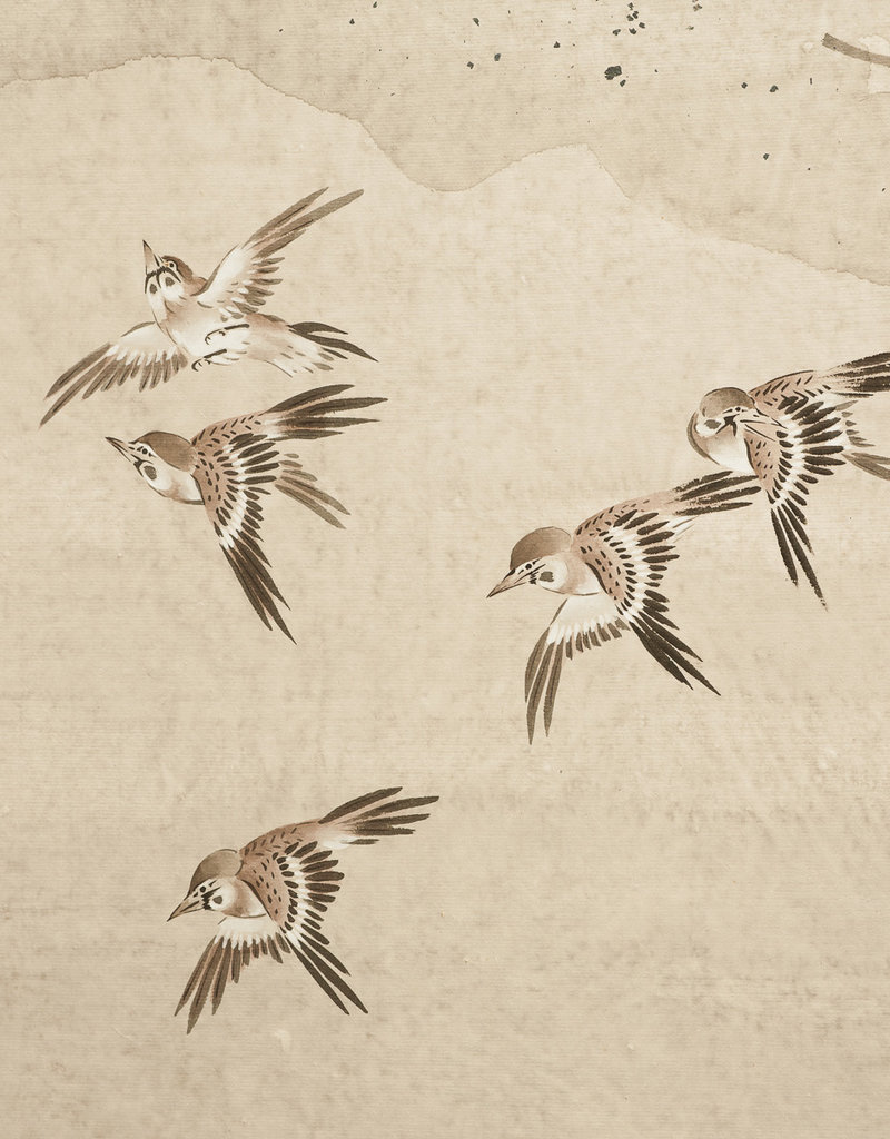 """Lawrence & Scott Sung Tze-Chin Chinese """"Magpies in Flight"""" Two-Panel Screen Silk Hanging Screen 24"""" W x 48"""" H"""