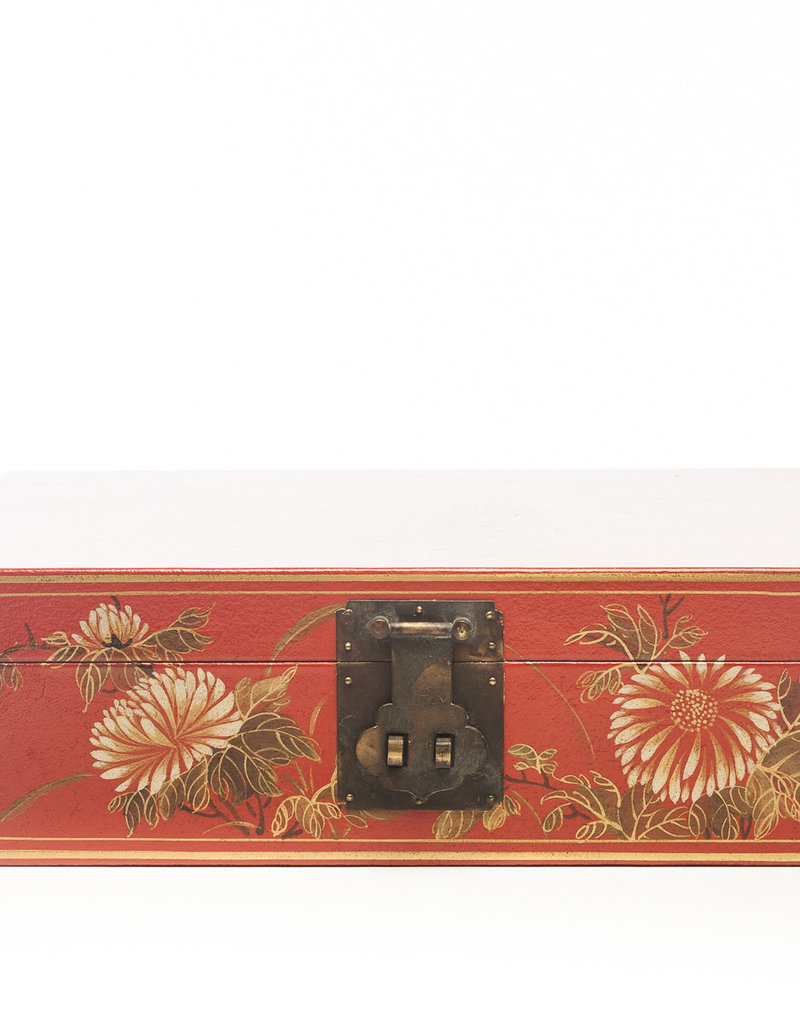 """Lawrence & Scott Mandarin Red Thrive Leather Box With Full Hardware (17"""")"""