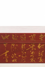 "Lawrence & Scott Mandarin Red Inscription Leather Box (16.5"")"
