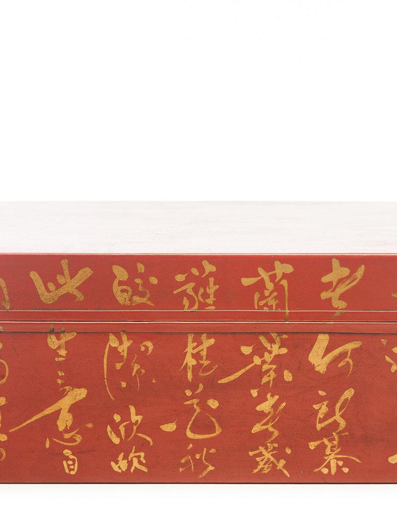 "Lawrence & Scott Mandarin Red Inscription Leather Box (16.5"")"