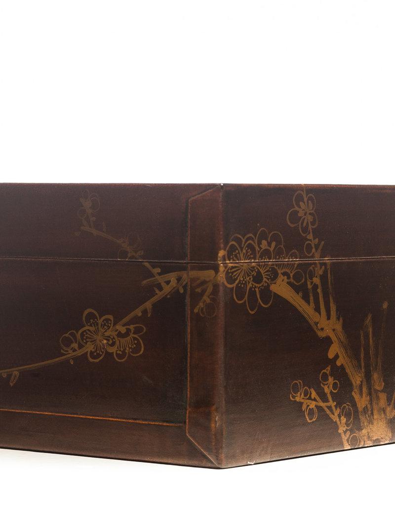 "Lawrence & Scott Mahogany Meridian Leather Box ( 16.5"")"