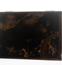 "Lawrence & Scott Black Meridian Leather Box (17"")"